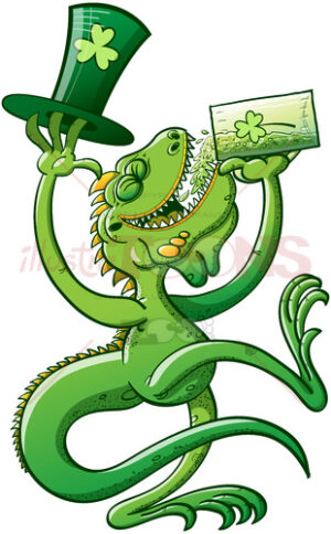 Saint Patrick's Day green iguana drinking beer - illustratoons