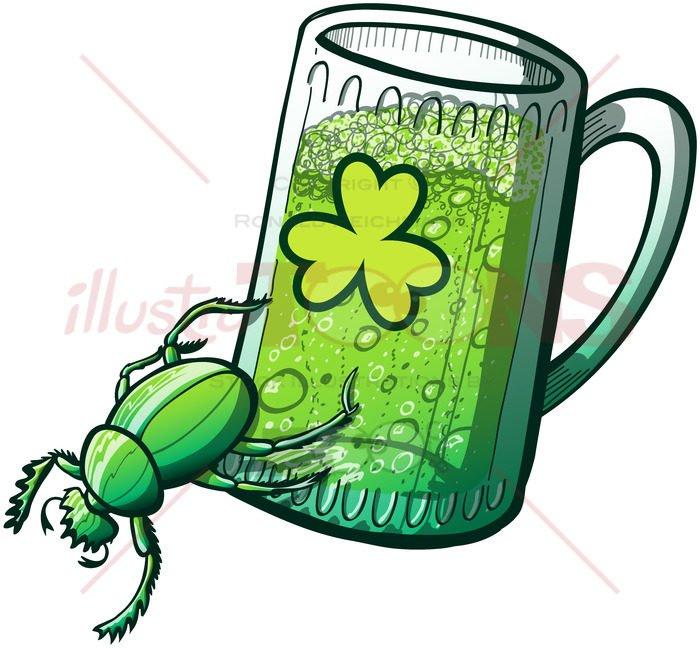 Saint Patrick's Day powerful green beetle - illustratoons