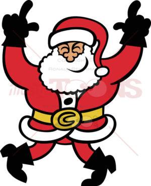 Santa Claus dancing enthusiastically
