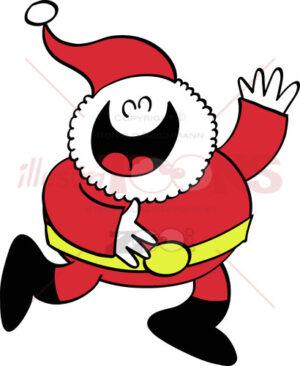 Santa Claus laughing and waving