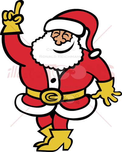 Santa Claus rising his hand to ask a question
