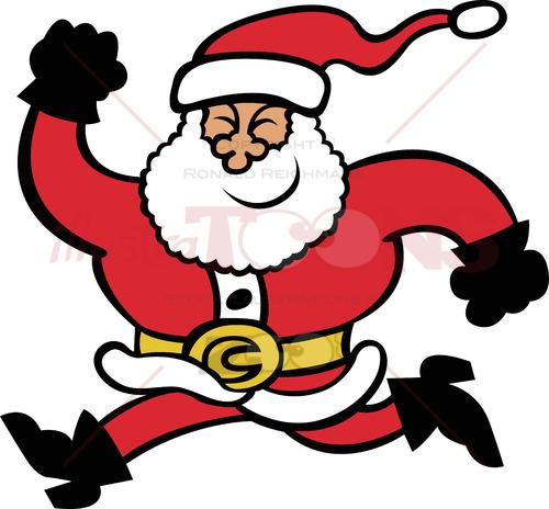 Santa Claus running animatedly