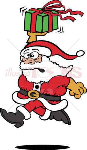 Santa Claus running with a Christmas gift