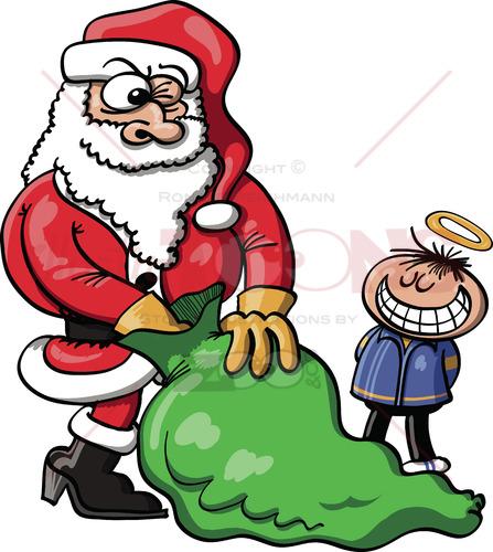 Santa choosing a Xmas gift for a good boy