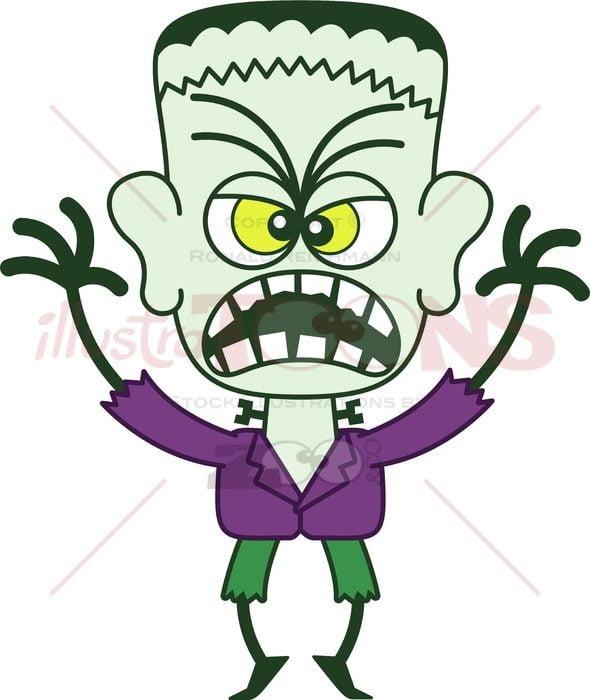 Scary Halloween Frankenstein - illustratoons