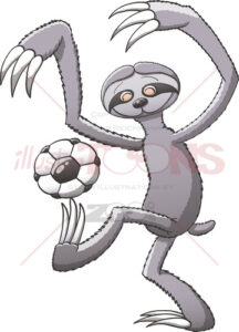 Sloth playing soccer and having fun while keeping balance - illustratoons