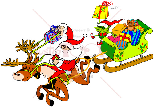 Smart Santa Claus shooting gifts with a slingshot - illustratoons
