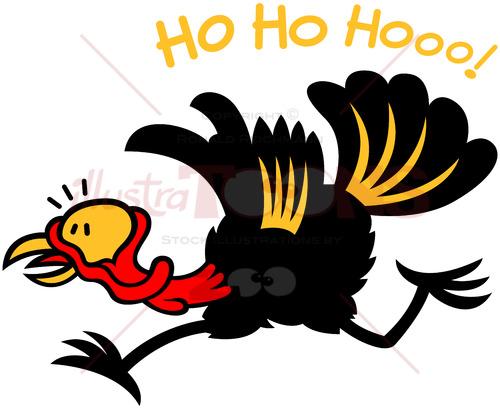 Smart turkey running away when hearing Santa laughing - illustratoons