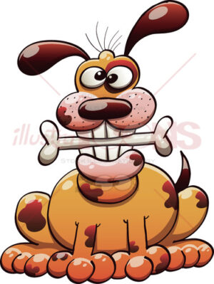 Smiling Dog Chewing a Bone - illustratoons