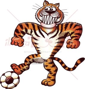 Soccer tiger stepping on a ball - illustratoons