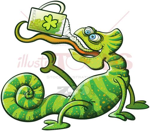 St Patrick's Day chameleon drinking beer - illustratoons