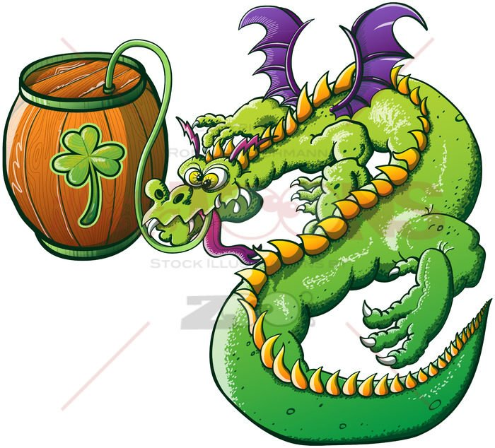 St Patrick's Day green dragon drinking beer - illustratoons