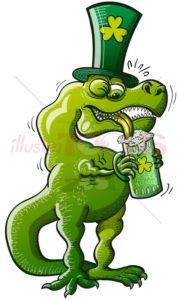 St Patrick's Tyrannosaurus Rex drinking beer - illustratoons