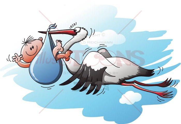 Stork delivering a newborn baby in a blue bag - illustratoons