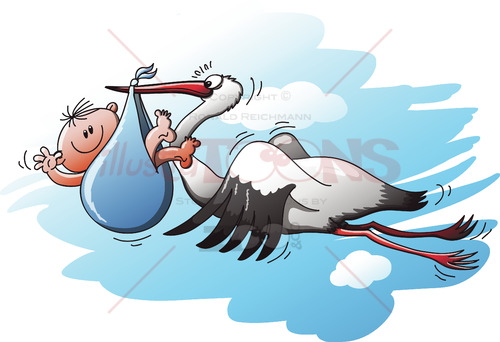 Stork delivering a newborn baby in a blue bag - illustratoons