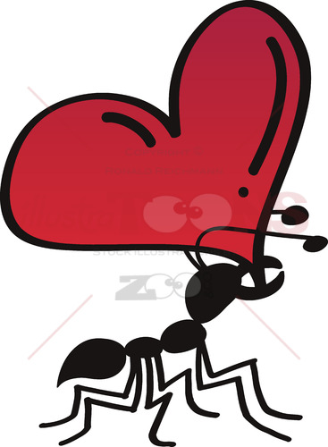 Strong ant bearing the weight of love