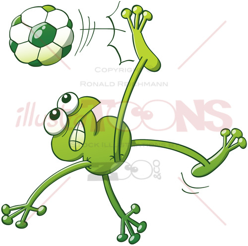 Talented green frog executing a stunning bicycle kick - illustratoons