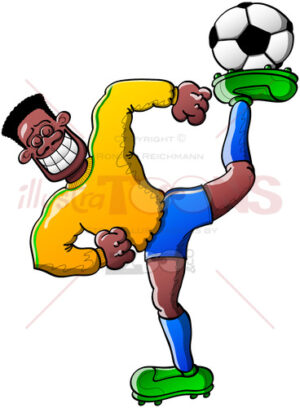 Talented soccer player holding a ball on his foot - illustratoons