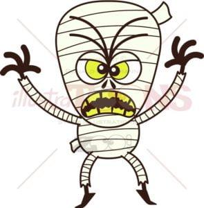 Terrific Halloween mummy being scary - illustratoons