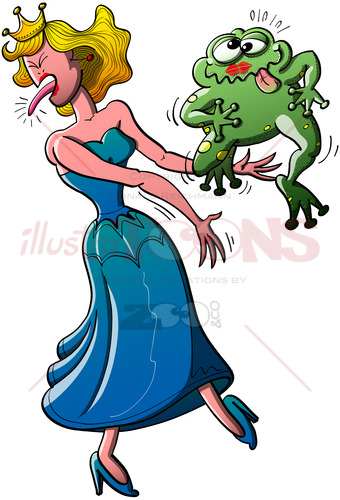 The princess kissed an ugly toad which did not turned into a prince - illustratoons