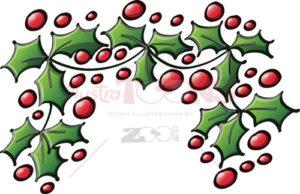 Xmas-ornamental-branch-of-evergreen-holly-tree