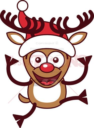 Xmas reindeer wearing a Santa hat and jumping
