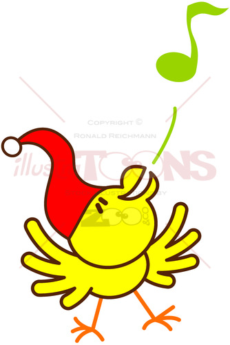 Yellow Christmas bird singing animatedly - illustratoons