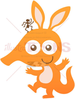 Baby aardvark smiling while carrying an ant on its head - illustratoons
