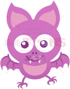 Baby bat smiling and flying while posing and staring at you - illustratoons