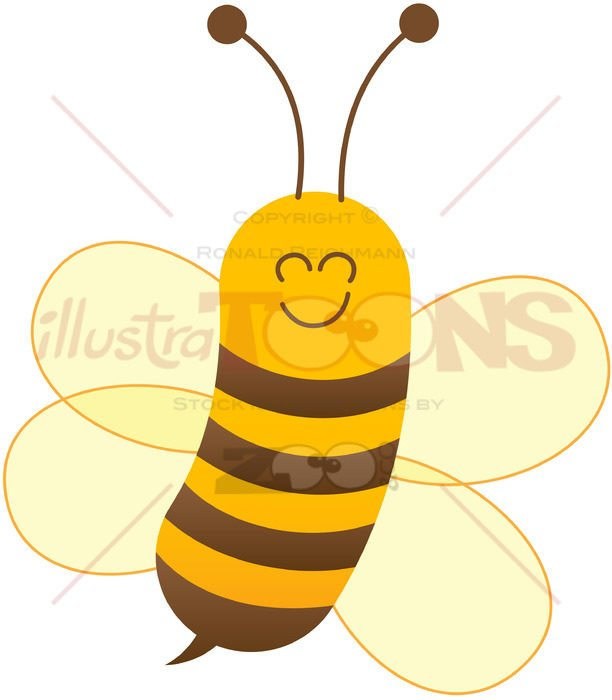 Baby bee posing and smiling while flying - illustratoons