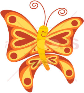Baby butterfly smiling while exhibiting red and yellow colors - illustratoons