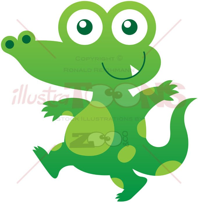 Baby crocodile smiling while walking stealthily - illustratoons