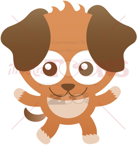 Baby dog with floppy ears while smiling and greeting - illustratoons