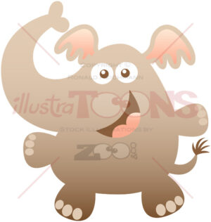 Baby elephant smiling and greeting animatedly - illustratoons
