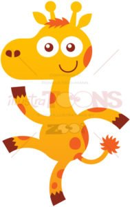 Baby giraffe smiling, dancing and waving animatedly - illustratoons