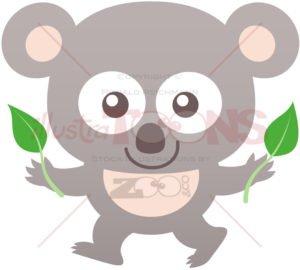 Baby koala smiling while holding eucalyptus leaves - illustratoons