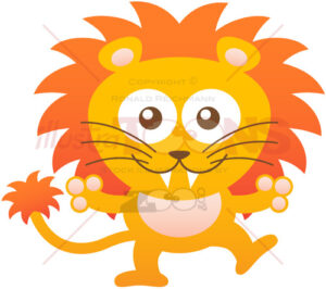 Baby lion smiling and welcoming you - illustratoons