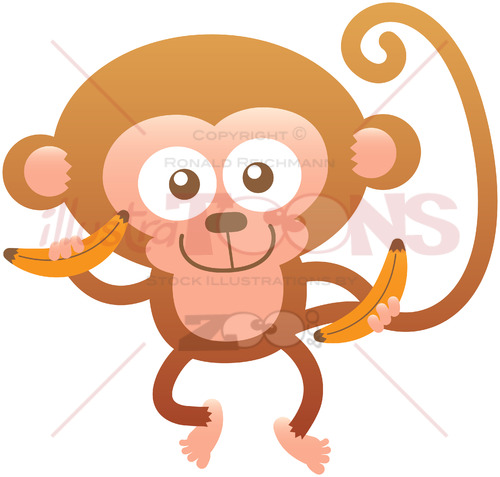 Baby monkey feeling proud of having bananas for lunch - illustratoons