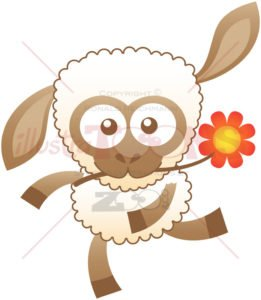Baby sheep dancing while holding a flower in its mouth - illustratoons