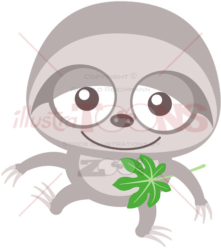 Baby sloth walking unsteadily and holding a Cecropia leaf - illustratoons