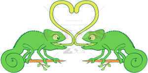 Chameleons sticky love - illustratoons