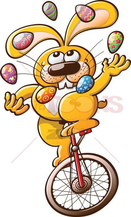 Cool yellow bunny juggling Easter eggs - illustratoons