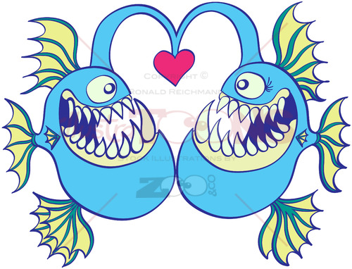 Deep sea fishes falling in love - illustratoons