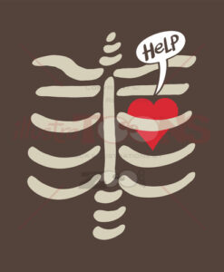 Distressed heart imprisoned inside a rib cage - illustratoons