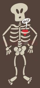 Distressed heart imprisoned inside a skeleton - illustratoons