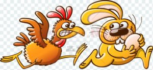 Easter bunny stealing an egg from a furious hen - illustratoons
