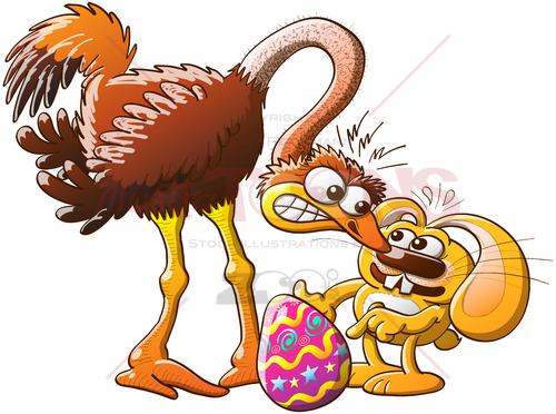 Easter bunny stealing eggs from an ostrich - illustratoons