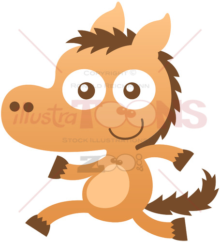 Funny baby horse running animatedly - illustratoons
