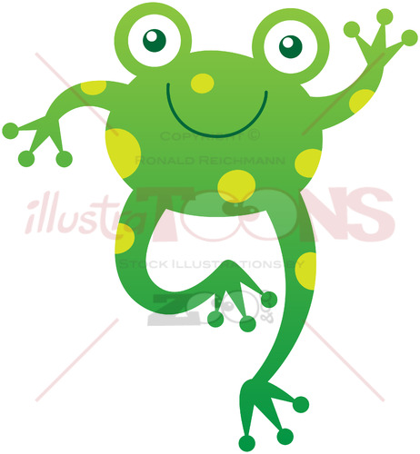 Green baby frog smiling and waving animatedly - illustratoons