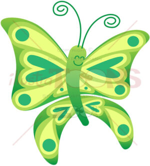 Little butterfly grinning while showing green and yellow colors - illustratoons